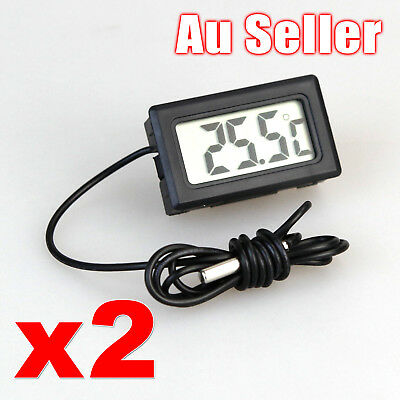 2x LCD Digital Thermometer for Fridge/Freezer/Aquarium/FISH TANK Temperature AU