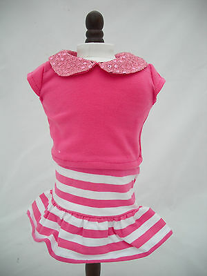 SOPHIAS PINK AND WHITE SKIRT AND TOP OUTFIT FOR 18 INCH DOLL