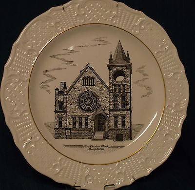 "1954 10"" plate First Christian Church, Mansfield, OH, scalloped edge,"