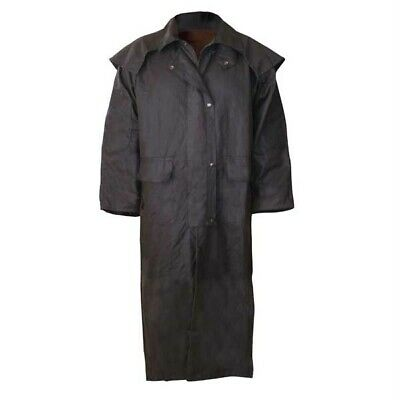 Stockman Full Length Long Drizabone Style Oilskin Jacket Coat - S-3XL