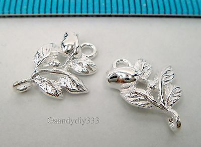 6x BRIGHT STERLING SILVER ROSE FLOWER LINK CONNECTOR SPACER BEAD 14.3mm #899A