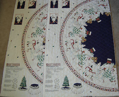 Daisy Kingdom Peppermint Hill Christmas tree skirt fabric panels pre quilted