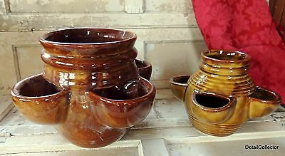 2 matching McCoy Strawberry Pots 3020 & 3021 Vase Planter for Hens & Chicks
