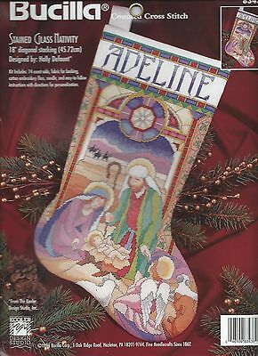 Stained Glass Nativity Stocking Counted Cross Stitch Kit~Holidays Christmas RARE