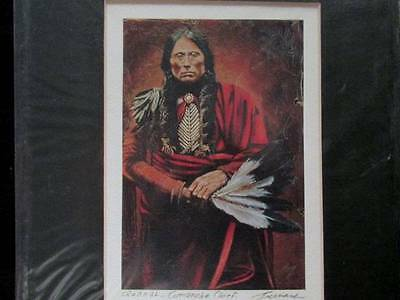 Quanah Comanche Chief by Bernard Matted color print unopened 8 X 10""