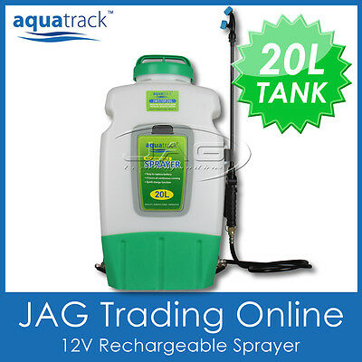 AQUATRACK 20L 12V WEED SPRAYER Rechargeble Battery Backpack Knapsack Garden Pump