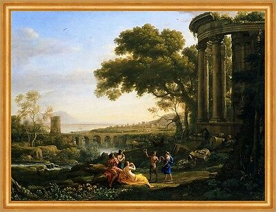 Landscape with Nymph and Satyr Dancing C. Lorrain griech. Mythologie B A1 01214