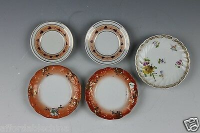 LOT OF 5 Porcelaiin BUTTER PATS - 4 Unmarked 1 Dresden