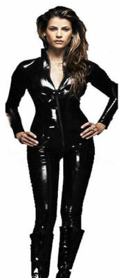 Black Shiny PVC CATSUIT Catwoman Ladies Fancy Dress COSTUME  8 10 12 14 16 18 20