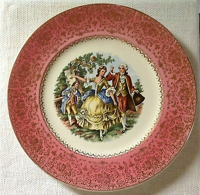 Imperial Service Plate Salem China 23K Gold USA  PINK RIM Colonial Romance 11""