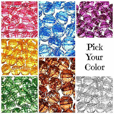 24 or 50 Shiny Large Acrylic 15mm Faceted Round Beads ~ Pick your Color!