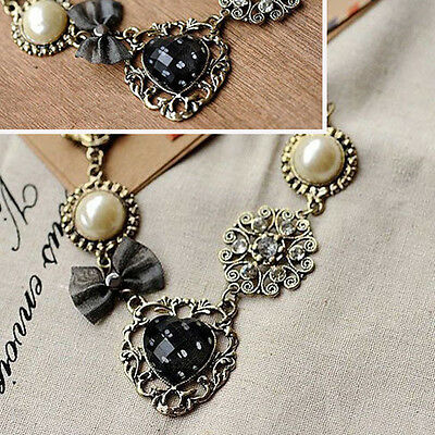 New Fashion Vintage Bronze Retro Pearl Flower Heart Charm Chain Necklace Metal