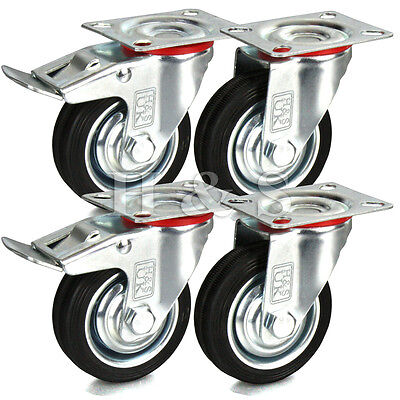 4 x Heavy Duty 75mm Rubber Swivel Castor Wheels Trolley Furniture Caster Black