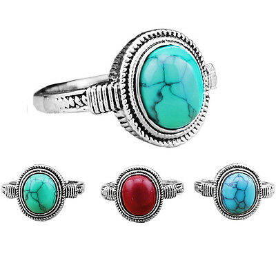 10pcs Delicate Oval Turquoise Rings Wholesale Lot Antique Silver Plated Jewelry