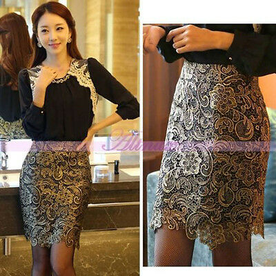Stylish Ladies Celeb Knee-length Lace Floral Style Pencil High Waist Skirts Hot
