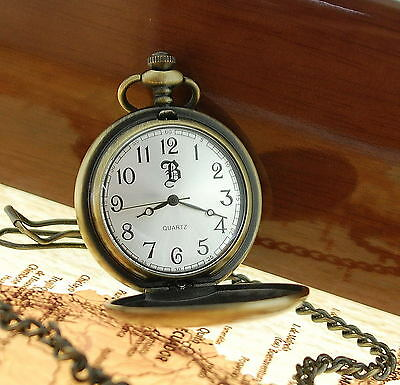 Boxx Antique Vintage Style Rose Gold Brass Silver Pocket Watch xmas Gift for Him