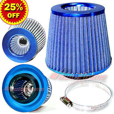 """3"""" 76mm Inlet HIGH FLOW Short Ram Cold Air Intake ROUND Cone MESH Filter BLUE"""