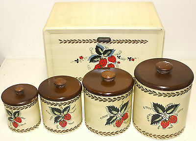 Vintage Ransburg Strawberries Strawberry Tin Canister Set Wood Lid Breadbox!