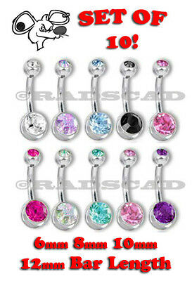 10 x DOUBLE GEM BARBELL14G navel bar belly ring body piercing clear silver B01