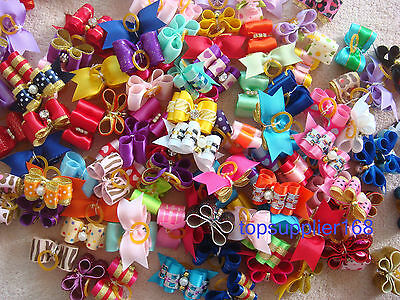 NEW Dog bows pet Grooming hair gift Pet charms mix double loop Accessories #S4