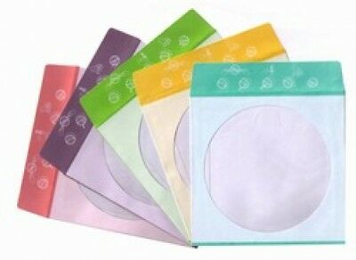 100 Assorted Color Design Paper CD Sleeves with Window & Flap