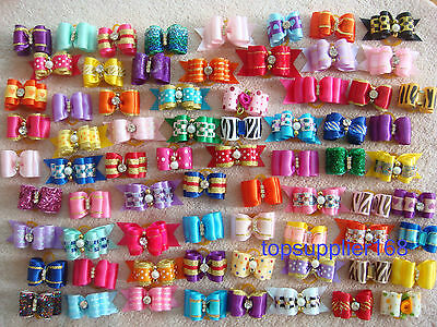 NEW Dog bows pet Grooming hair gift Pet charms mix double loop Accessories #a31