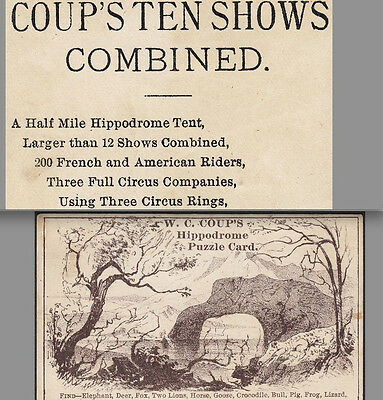 Coup's Hippodrome 3-Ring Circus Tent Railroad Show Orpheodes Advertising Card