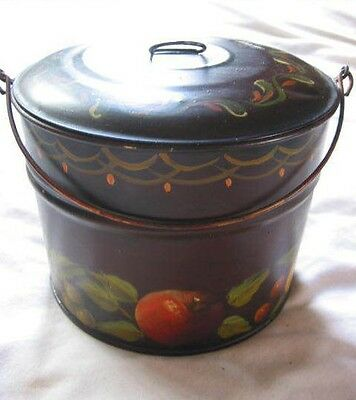 "1960s Vtg Handpainted Toleware 4.5"" Bale Handle Pail Canister Brown w/ Fruit"