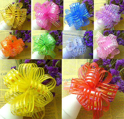 30mm Large Luxury Organza Ribbon Pull Bows Wedding Party Decoration Many Colours