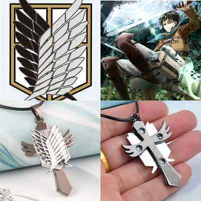 Hot Anime Necklace Attack on Titan Cross Rope Chain Cosplay Badge Metal Pendant