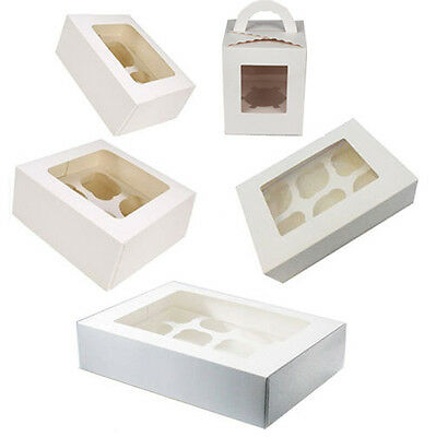 Clear Window Cupcake Boxes For 1 / 2 / 4 / 6 / 12 Cakes With Removable Insert
