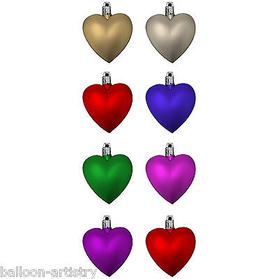 8 Assorted Christmas Multi Coloured Hanging Glitter Heart Baubles Decorations