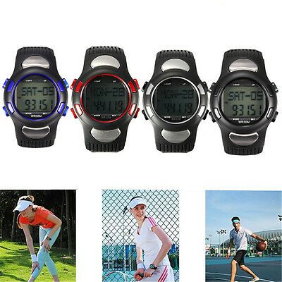 Fitness 3D Sport Pulse Heart Rate Monitor Pedometer Calories Counter Wrist Watch
