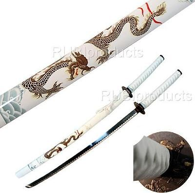 "40"" Katana Sword White/Gold DRAGON Art Carbon Steel Collectible Samurai Ninja"