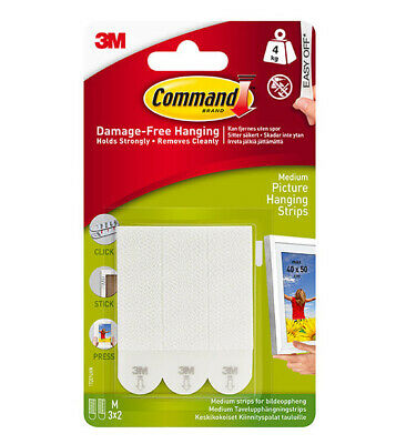 3M Command Medium Picture Hanging Strips Pack of 3 Pairs - Damage Free Hanging