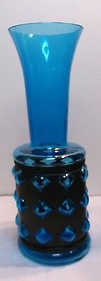 Mid century modern Italian tall blue blown out vase metal wrapped 50-70s