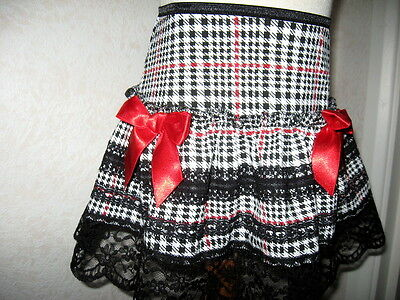 New Baby Girls Black,White,Red,Gold,Tartan Mix lace Party,Gift Skirt,Goth,Rock