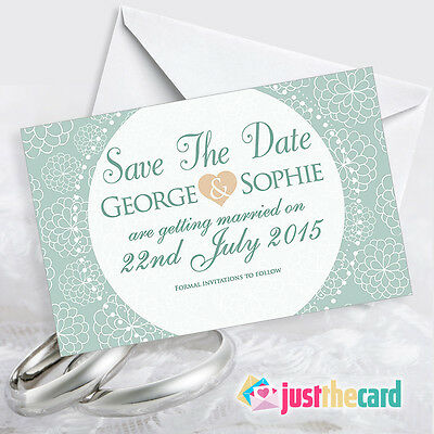 50 Green Vintage Wedding Save the Date Card With Envelopes