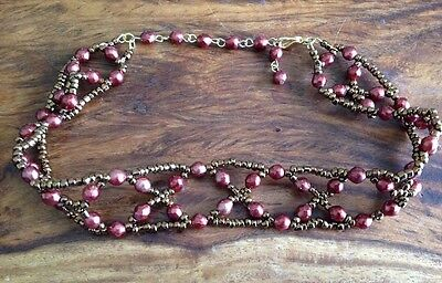 "35cm (14"") Bronze Glass Seed Bead Necklace Choker Collar Vintage 70s Japanese"