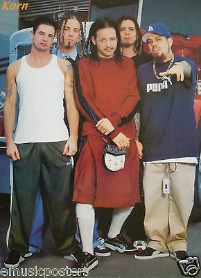 """KORN """"GROUP STANDING WITH JONATHAN WEARING A KILT"""" POSTER-Heavy Metal Rock Music"""