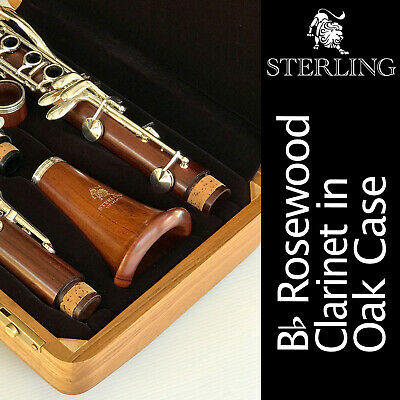 ROSE WOOD Bb CLARINET  • STERLING Pro Quality Wooden • Brand New • With Case •