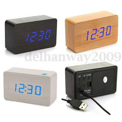 Voice Control Calendar Thermometer Digital Desk LED Wood Wooden Alarm Clock NEW