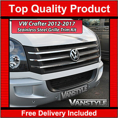 VW VOLKSWAGEN CRAFTER 2012-on CHROME FRONT GRILL KIT COVER STAINLESS STEEL TRIM