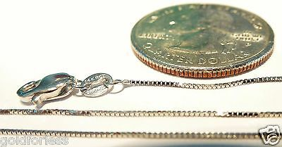 14kt Solid WHITE GOLD 20 inch .6MM BOX CHAIN Lobster Lock..100% Gold Guaranteed!