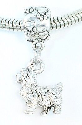 3D Terrier or Shih Tzu Dog Lover Pawprint Slider Charm for Bracelets Or Necklace