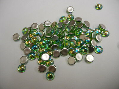 144 Preciosa round smooth glass cabochons 9mm Peridot AB /Foiled #5040/AB