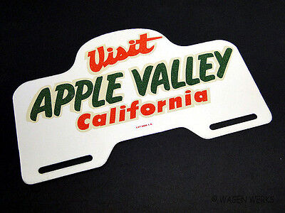 License Plate Topper - Visit Apple Valley early 1960s NOS VW Ford Chevy Dodge