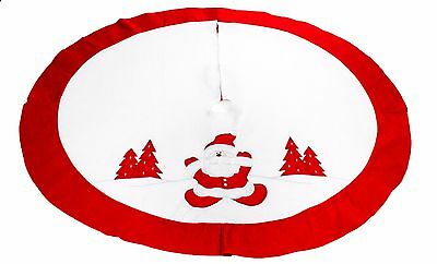 Christmas Tree Skirt Santa in the Snow - Red / White