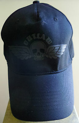 New Outlaw Skull and Wings Stitched Hat Cap Adjust Spandex Band Biker Motorcycle