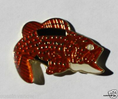 Large Mouth Bass Fish Lapel Hat Pin Sport man Tie tack